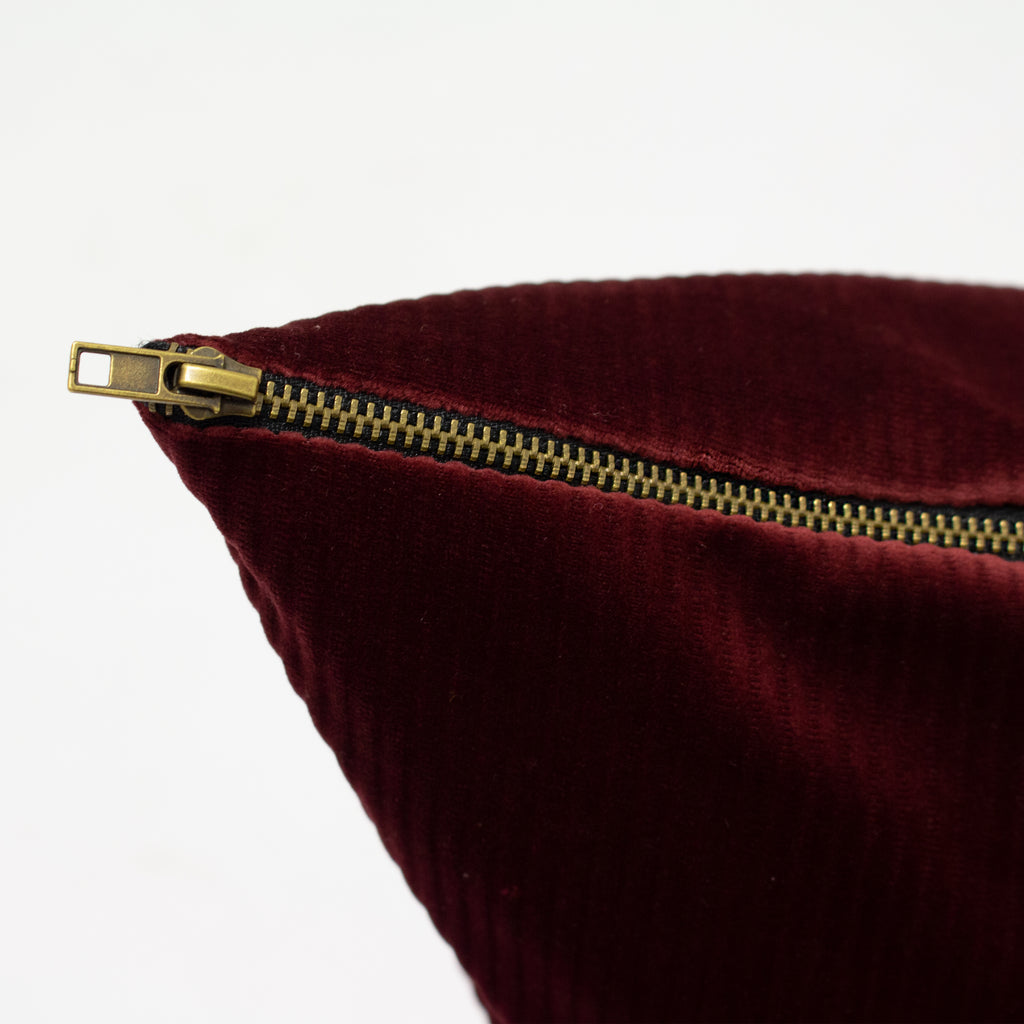 Aurora Ribbed Velvet Cushion in Ox Blood Red