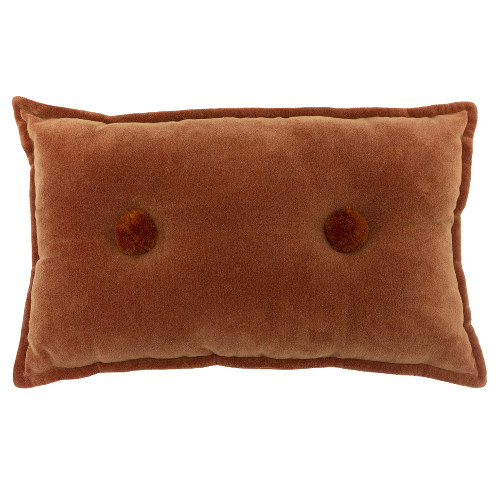 Bobble Velvet Cushion in Brick