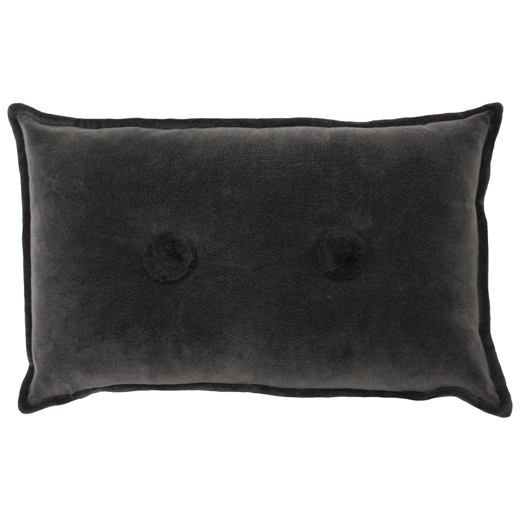 Bobble Velvet Cushion in Charcoal
