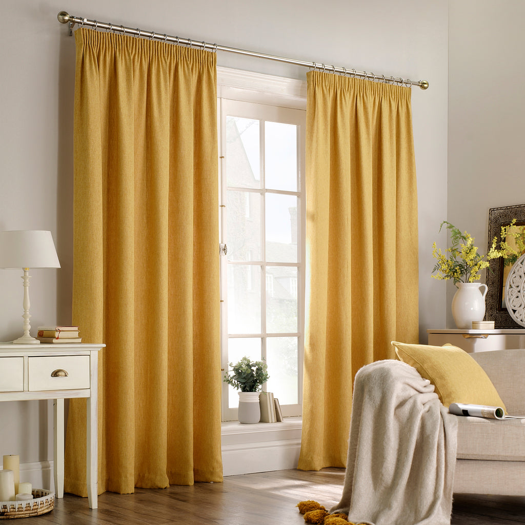 Harrison Pencil Pleat Curtains in Ochre