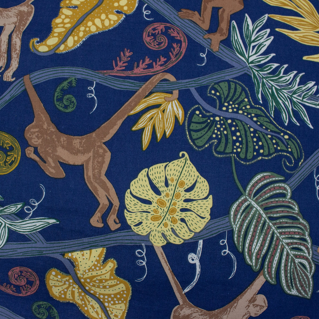 Monkey Forest Duvet Cover Set in Midnight Blue