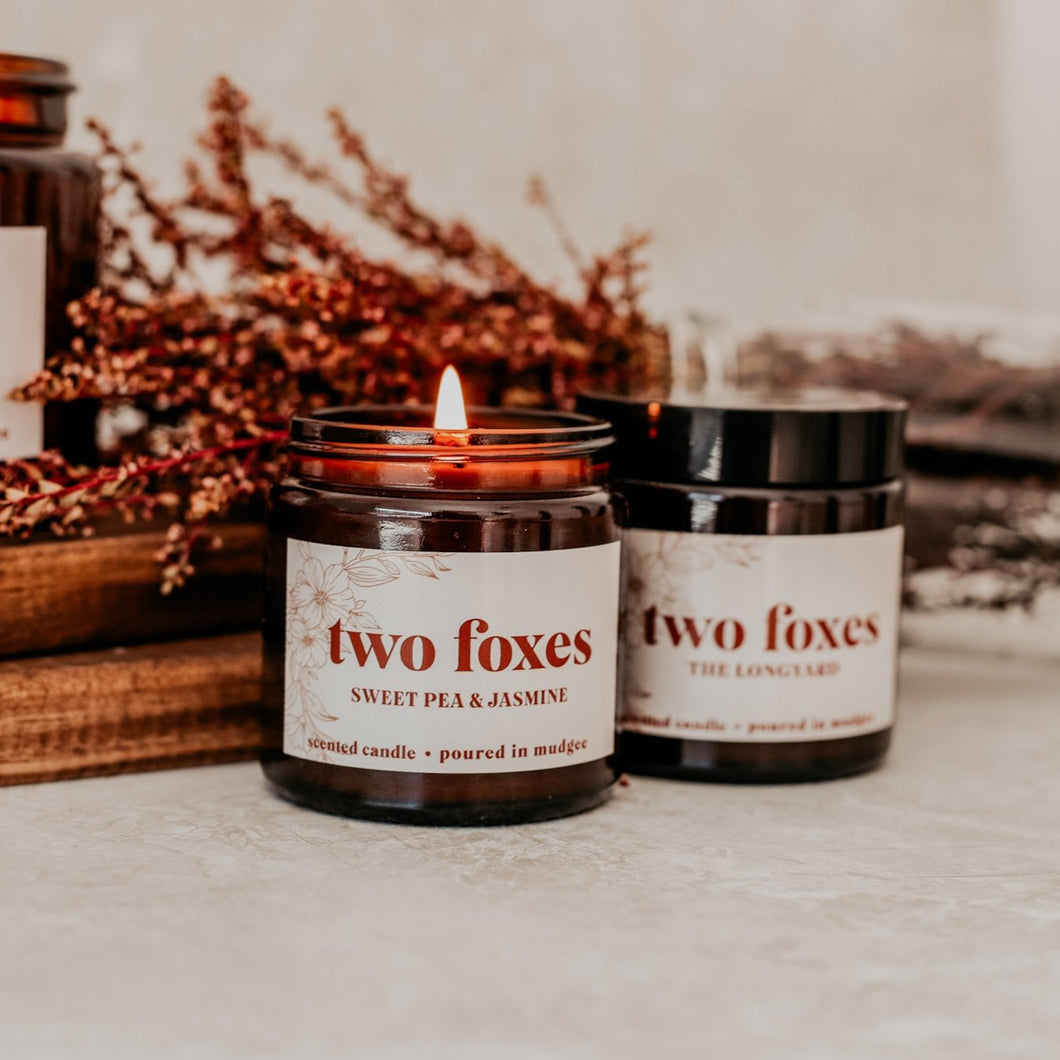 Two Foxes Petite Amber Candle