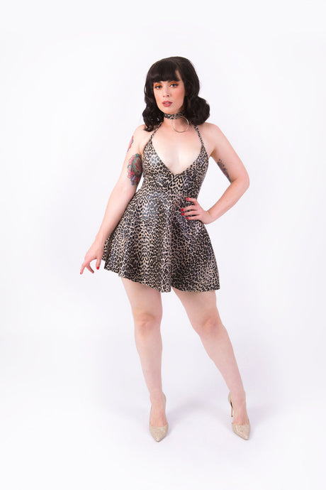 Nicki Halter Dress [FAUX LEOPARD LEATHER]