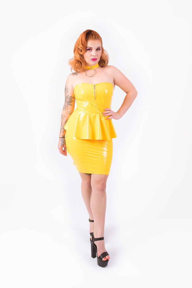 Onika Peplum Dress [YELLOW]