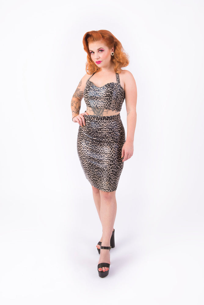 What's Good? Bodycon Skirt [FAUX LEOPARD LEATHER]
