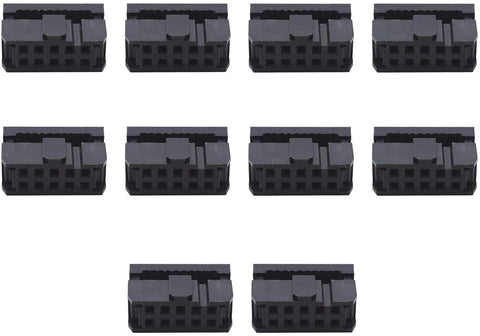 2x5 FC-10P 2.54mm Dual Rows IDC Sockets Female Connector for Flat Ribbon Cable, 10-Pack