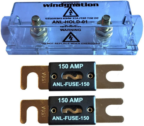 WindyNation ANL Fuse Holder + 2pcs ANL Fuses 150A