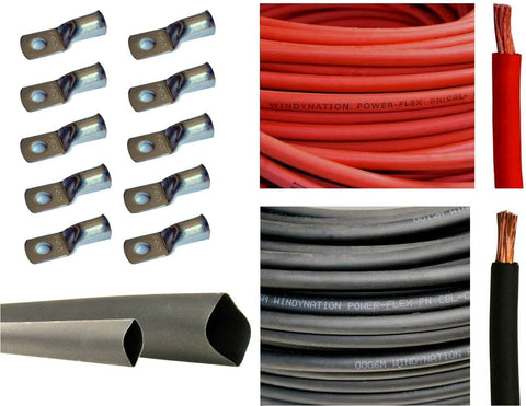 "WindyNation 6 Gauge 6 AWG 2.5 Feet Red + 2.5 Feet Black Welding Battery Pure Copper Flexible Cable + 10pcs of 3/8"" Tinned Copper Cable Lug Terminal Connectors + 3 Feet Black Heat Shrink Tubing"
