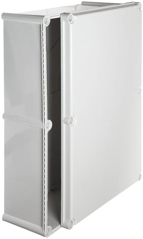 "BUD Industries NBD-15456 Style D Plastic Outdoor Box with Solid Door, 22-5/64"" Length x 14-31/32"" Width x 7-1/32"" Height, Light Gray Finish"
