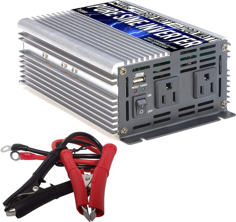 GoWISE Power 600W Pure Sine Wave Inverter 12V DC to 120V AC with 2 AC Outlets + 1 5V USB Port and 2 Clamp Cables
