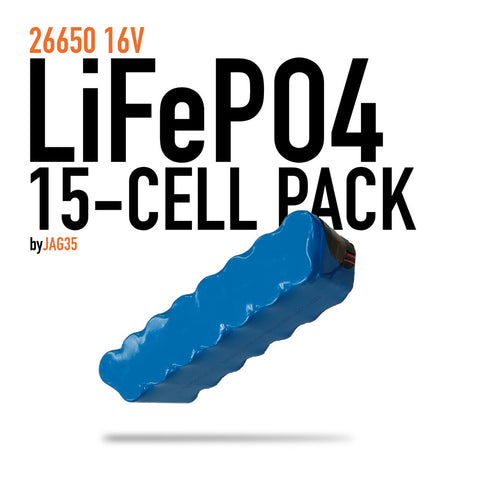 15-Cell 26650 LiFePO4 Pack 16V 9900mAh, 4x packs