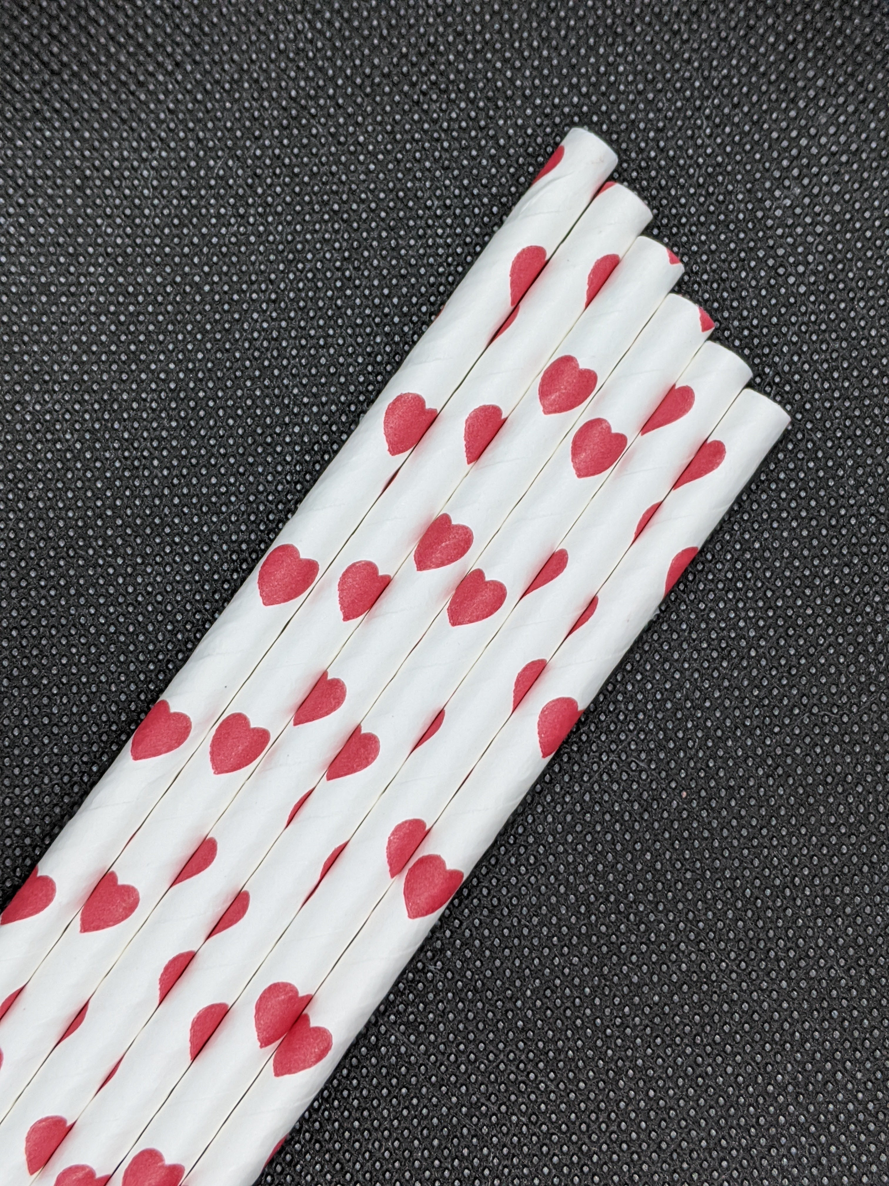 "7.75"" PAPER STRAWS-RED HEARTH DESIGN - 2400 CT (WRAPPED) - Orcas Ocean Straws"