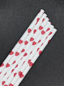 "7.75"" PAPER STRAWS - RED HEART DESIGN - 4000 CT (UNWRAPPED) - Orcas Ocean Straws"