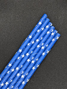 "7.75"" BLUE PAPER STRAWS - STAR DESIGN - 4000 CT (UNWRAPPED) - Orcas Ocean Straws"