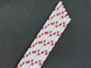 "7.75"" RED PAPER STRAWS - STAR DESIGN - 4000 CT (UNWRAPPED)"