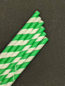 "7.75"" PAPER STRAWS - GREEN STRIPE DESIGN - 300 CT (WRAPPED)"