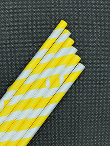 "7.75"" PAPER STRAWS - YELLOW STRIPE DESIGN - 500 CT (UNWRAPPED)"