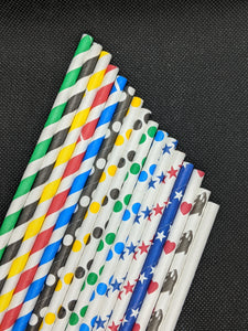 "7.75"" PAPER STRAWS - VARIETY DESIGNS - 500 CT (UNWRAPPED)"
