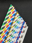 "7.75"" PAPER STRAWS - VARIETY DESIGNS - 300 CT (WRAPPED)"