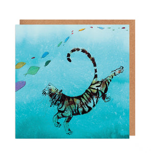 'Augustus' Swimming Tiger Card for all Occasions