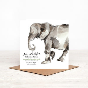 Elephant New Baby Card - Ava & Ayla