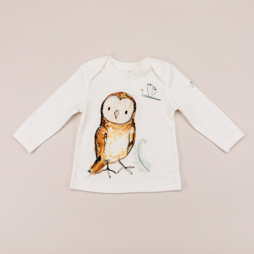 'Olive' Owl Print Long Sleeve T-Shirt
