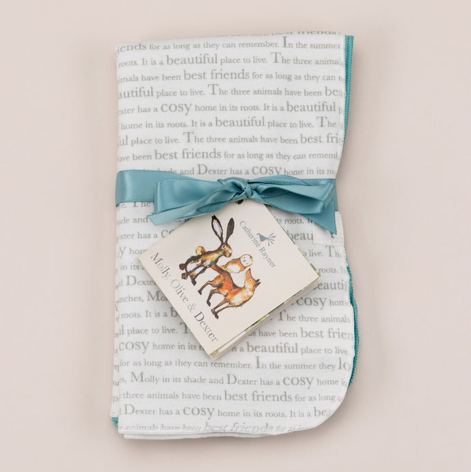 Storytime dribble cloths with ribbon and storybook label