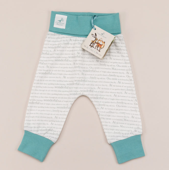 Storytime jogging trousers with ocean blue trim front