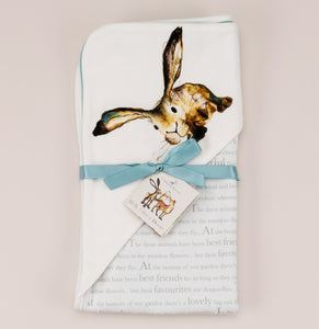 Molly hare wrap blanket with ribbon and storybook tag