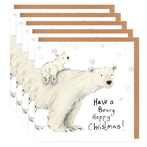 Pack of 5 Polar bears Charity Christmas Card 'Claudette and Cecily'