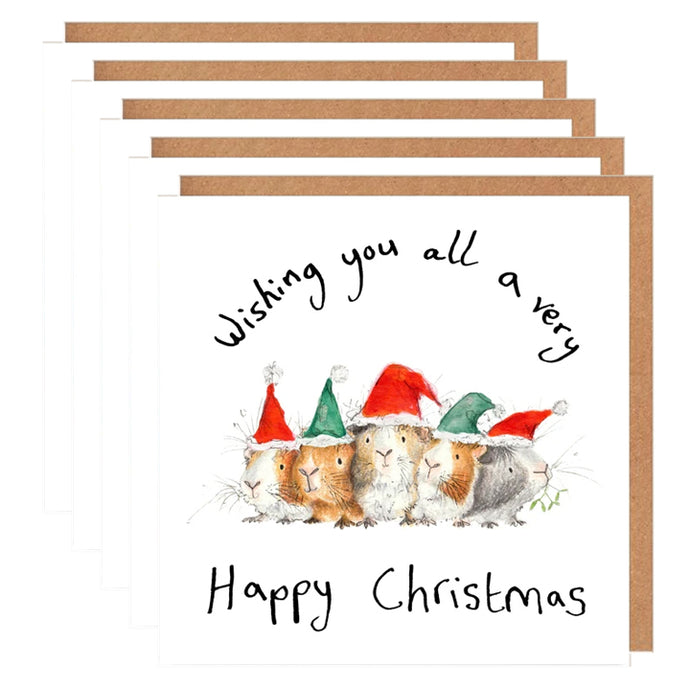 Pack of 5 'Group of Guinea Pigs' Charity Christmas Card