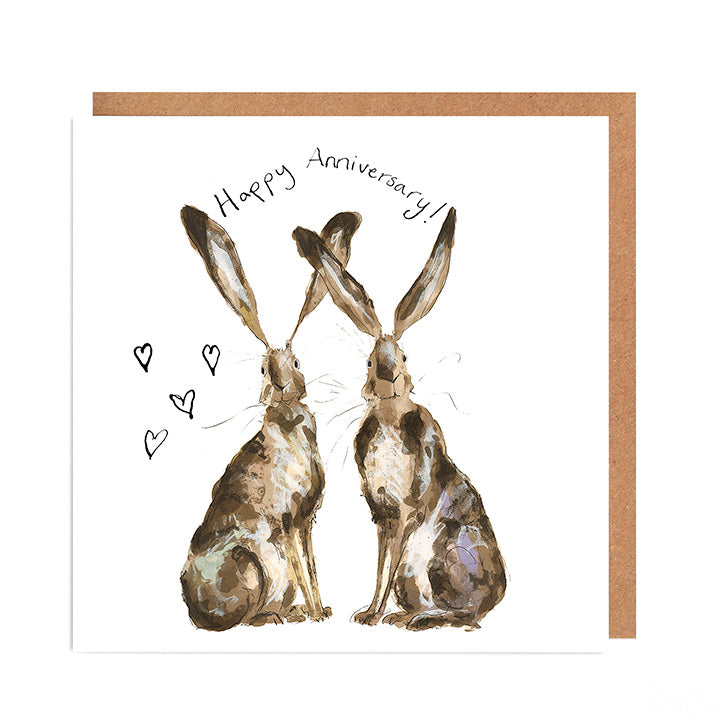 Pair of Hares Anniversary card - 'Lil & Gina'