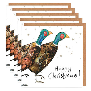Pack of 5 Pair of Pheasants Charity Christmas Cards 'Miles & Giles'