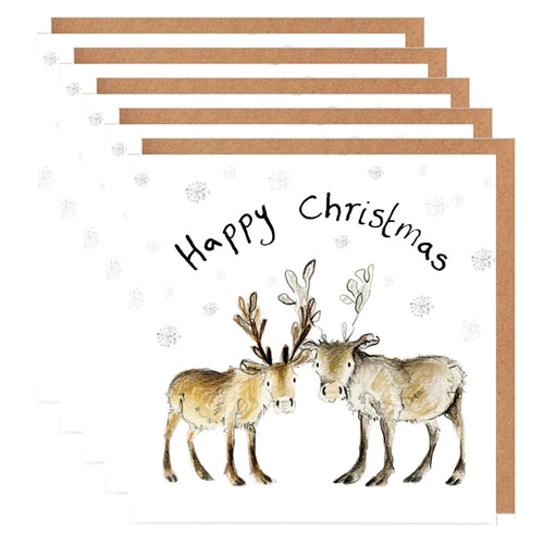 Pack of 5 Baby Reindeer Charity Christmas Cards - 'Miriam and Madeleine'