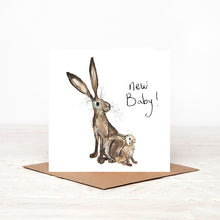 Load image into Gallery viewer, New Baby Hare card - Molly & Meredith