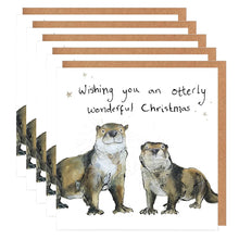 Load image into Gallery viewer, Pack of 5 Otters Charity Christmas Cards - 'Nona and Reilly""