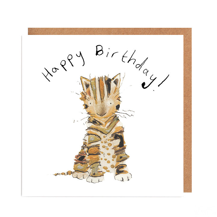 Posy Kitten Birthday Card