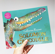 "Load image into Gallery viewer, Solomon Crocodile Print ""Uh-Oh, Here Comes Trouble!"""
