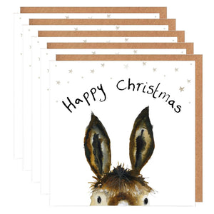 Pack of 5 Donkey Charity Christmas Cards - 'Trevor'