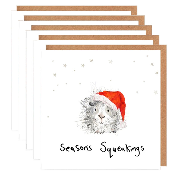 Pack of 5 'Vidal' the Guinea Pig Charity Christmas Card