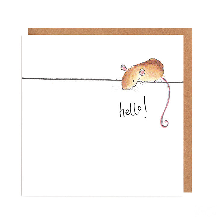 Violet Mouse greetings card - 'Hello'