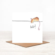 Load image into Gallery viewer, Violet Mouse greetings card - 'Hello'