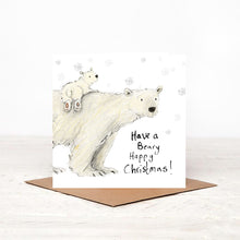 Load image into Gallery viewer, Pack of 5 Polar bears Charity Christmas Card 'Claudette and Cecily'