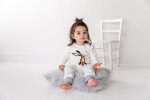 Child wearing storytime joggers with dusky heather trim