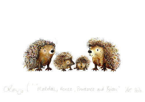 'Hedgehog Family' A5 Print