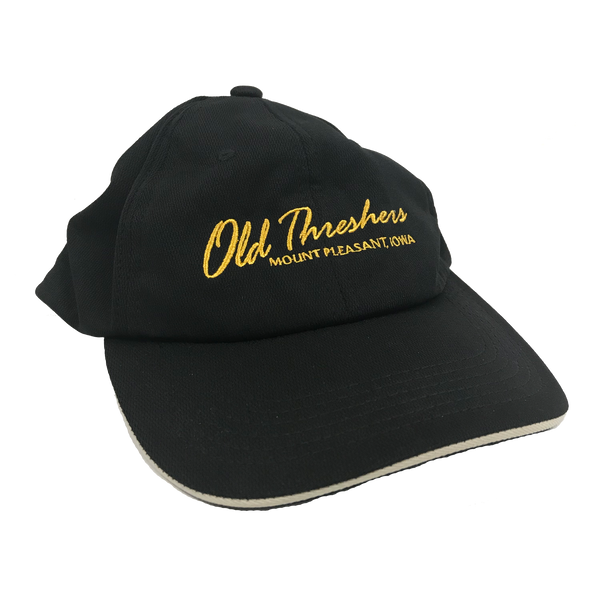 Black and Gold Old Threshers Script Hat