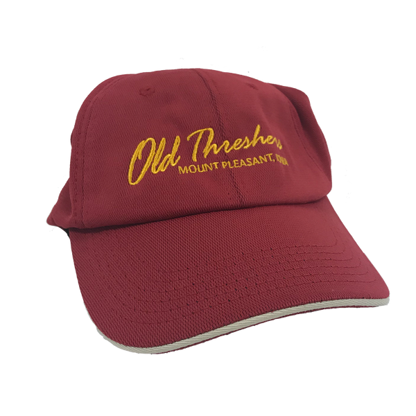 Red and Gold Old Threshers Script Hat