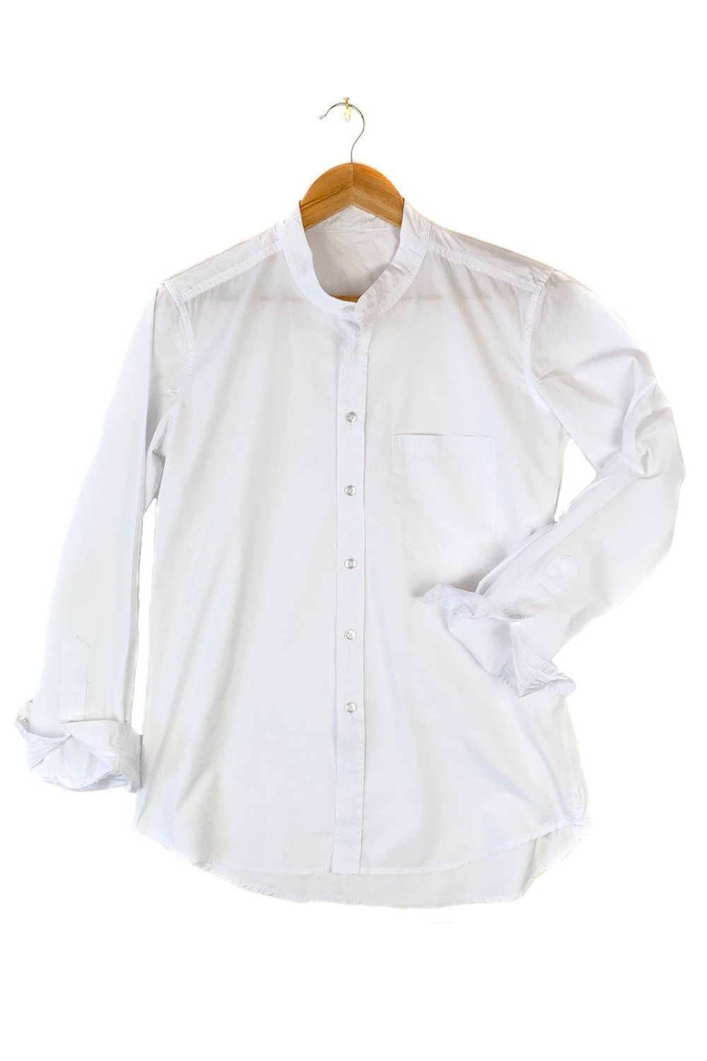 Irving and Powell-Franklin Band Collar Shirt | White