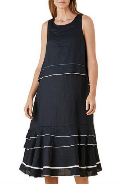 Hammick and Vine Layer Dress | Black with White detail