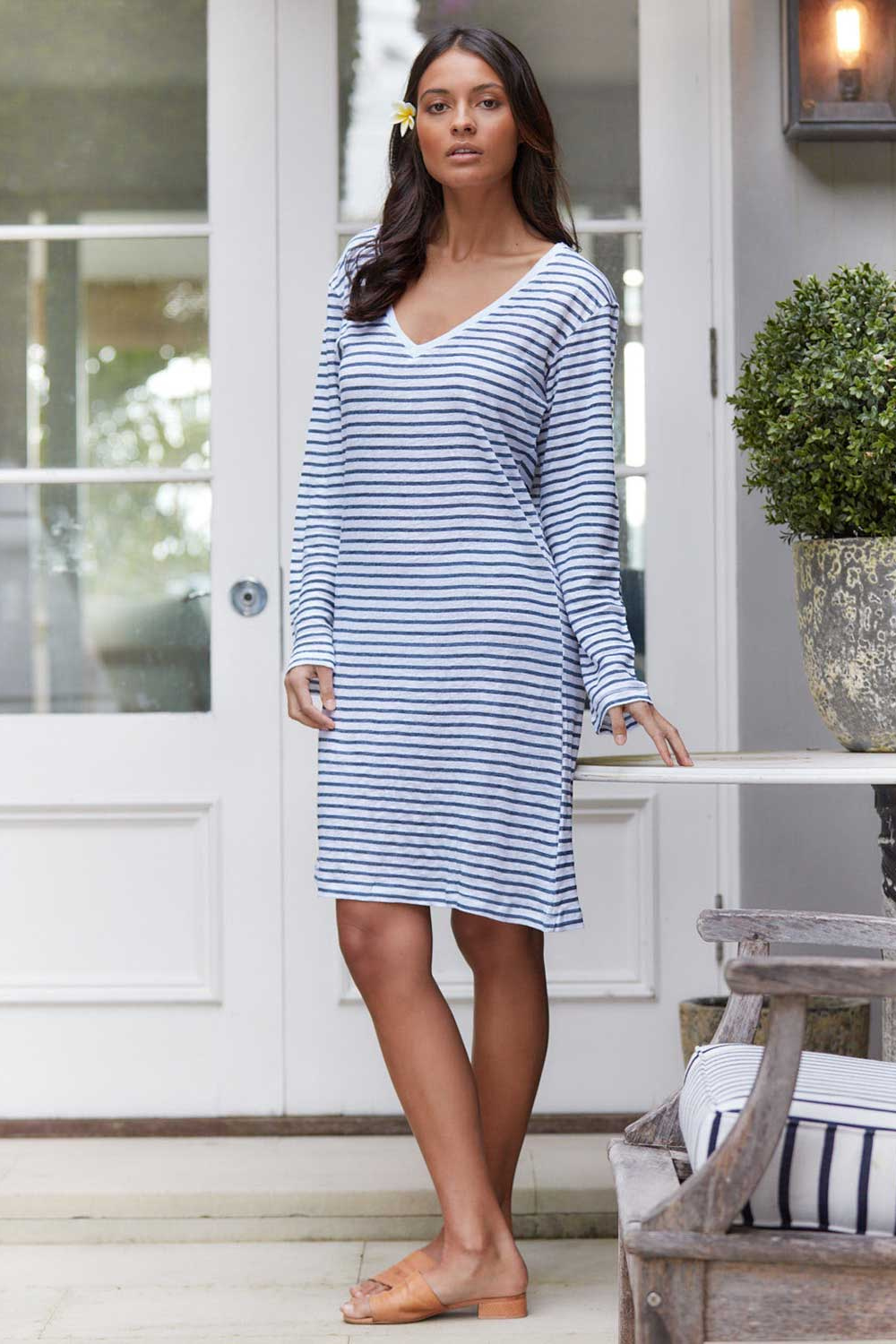 Jac Cadeaux-V Neck Linen Dress | Navy Stripe